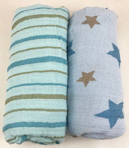 Star and Stripes Blue Muslin Swaddle Set (2 pack of blankets) Light weight guaze style wrap