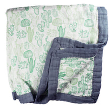 Load image into Gallery viewer, Cactus Baby Blanket - 3 layers of soft muslin, made from bamboo/cotton blend. Great for swaddling, nursing cover, travel blanket and more