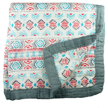 Load image into Gallery viewer, Southwestern Baby Blanket - 3 layers of soft muslin, bamboo/cotton blend. Great for swaddling, nursing cover, travel blanket and more