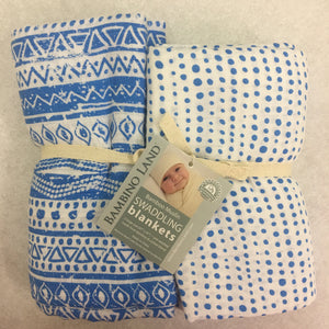 Geometric Blue Muslin Swaddle Set of 2 - soft muslin, bamboo/cotton blend. Great for swaddling, nursing cover, travel blanket and more