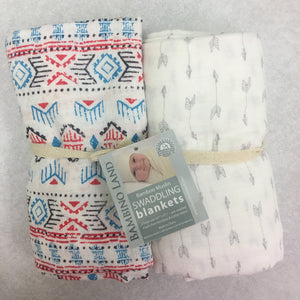 Southwestern & Arrows Muslin Swaddle 2 pack - soft muslin, bamboo/cotton blend. Great for swaddling, nursing cover, travel blanket and more