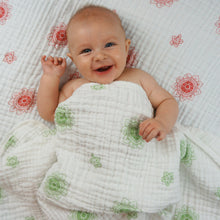 Load image into Gallery viewer, Double Layer Muslin Swaddling Blanket - Green Zen Flowers