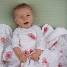 Load image into Gallery viewer, Double Layer Muslin Swaddling Blanket - Red Zen Flowers