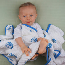 Load image into Gallery viewer, Double Layer Muslin Swaddling Blanket - White with Blue Moons