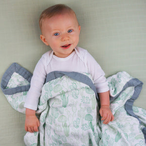 Cactus Baby Blanket - 3 layers of soft muslin, made from bamboo/cotton blend. Great for swaddling, nursing cover, travel blanket and more