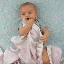 "Load image into Gallery viewer, Pink Floral Satin Trimmed Muslin Swaddle Blanket  (47""X47"")"