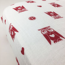 Load image into Gallery viewer, Peace & Love Owls Fitted Crib Sheet (organic cotton muslin)