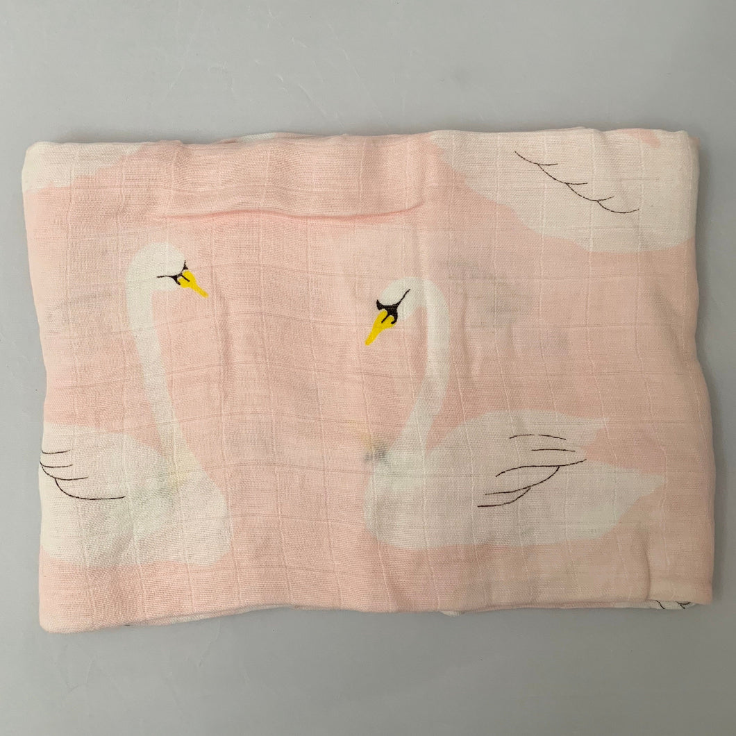 Pink Swans Swaddle 1 pack - soft muslin, bamboo/cotton blend. Great for swaddling, nursing cover, travel blanket and more