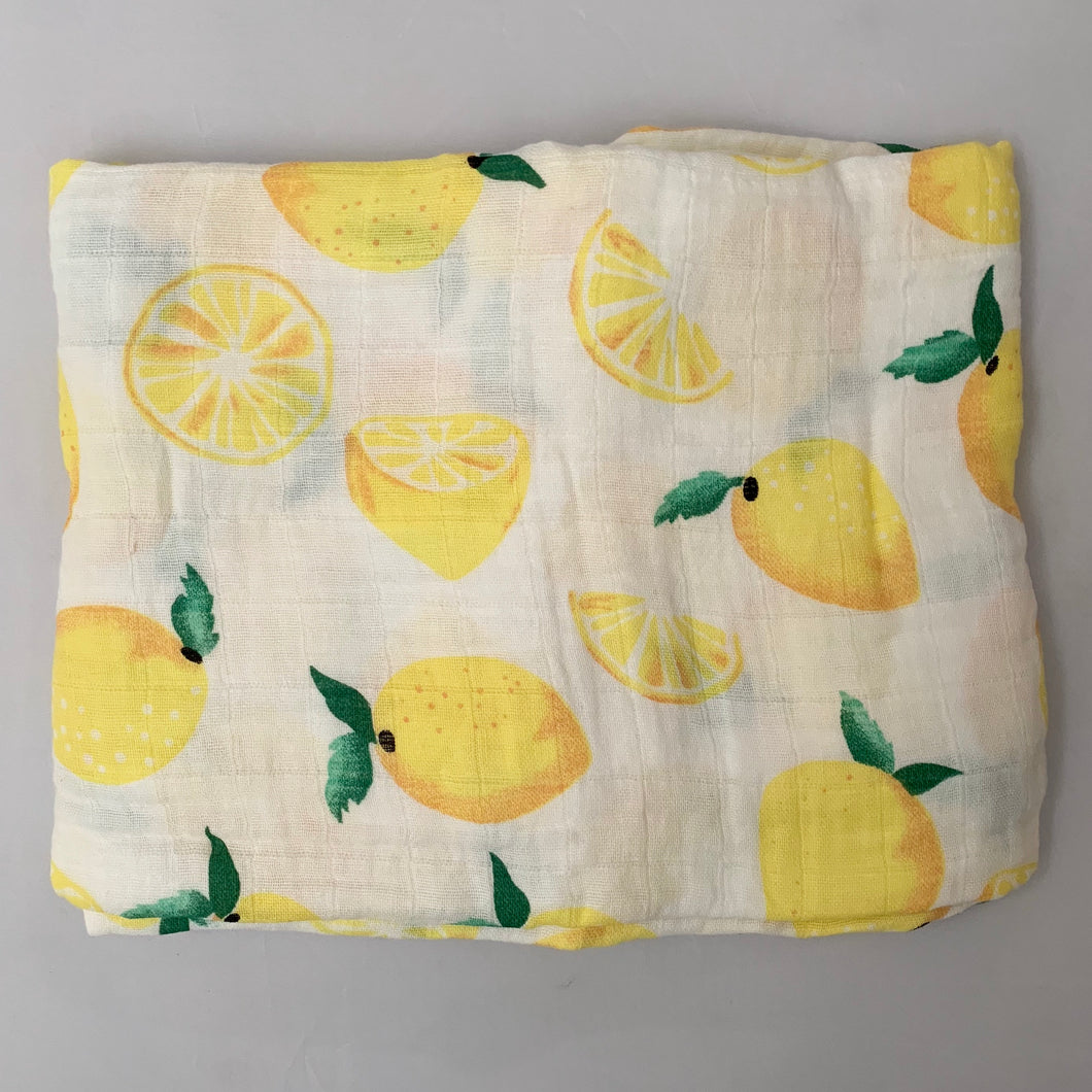 Lemon Swaddle 1 pack - soft muslin, 100% cotton. Great for swaddling, nursing cover, travel blanket and more