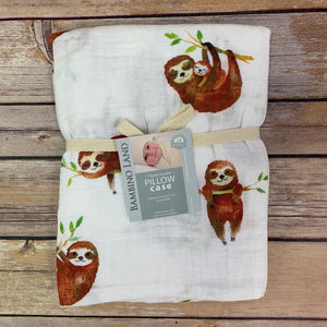 Sloth Muslin Pillowcase