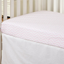 Load image into Gallery viewer, Pink Chevron Muslin Crib Sheet