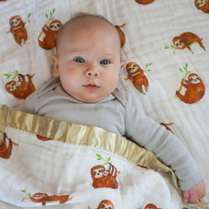 Sloths, Triple Layers Blanket with Jersey or Satin Options