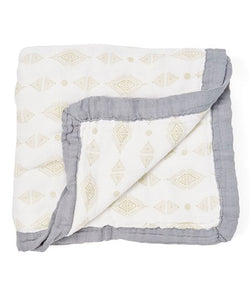 Triangles Baby Blanket - 3 layers of soft muslin, bamboo/cotton blend. Great for swaddling, nursing cover, travel blanket and more