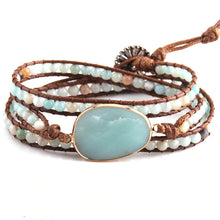Load image into Gallery viewer, Natural Green Amazonite Stone Wrap bracelet