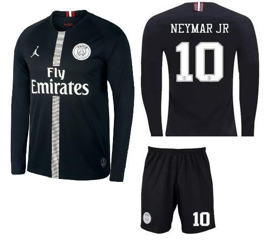 Original Jordan X Black Neymar PSG Full Sleeve Premium Jersey & Shorts [Optional] 2018-19