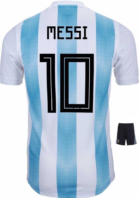 Messi Argentina Home Jersey & Shorts FIFA World Cup 2018 (Orignal Font)