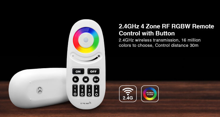 2.4GHz RGBW RF Remote Controller 4-Zone Group Control with Button