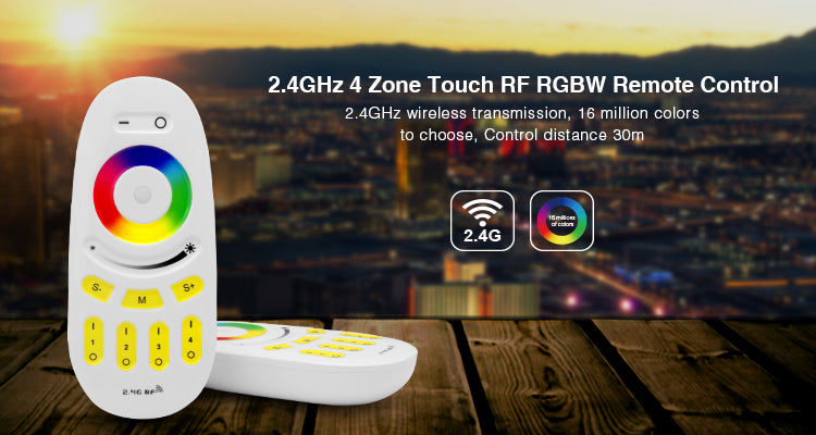 2.4GHz RGB + CCT Touch RF Remote Controller 4-Zone Group Control Unit