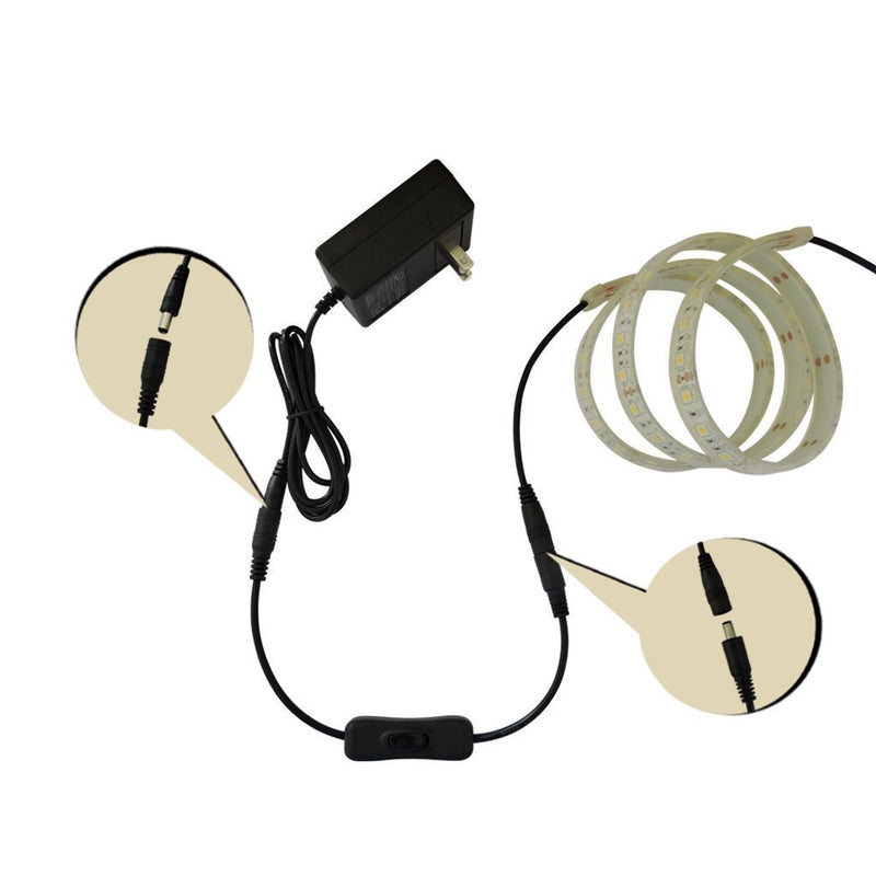 FluxTech - LED Strip Light Intermediate On/Off Switch Cable with DC Jack