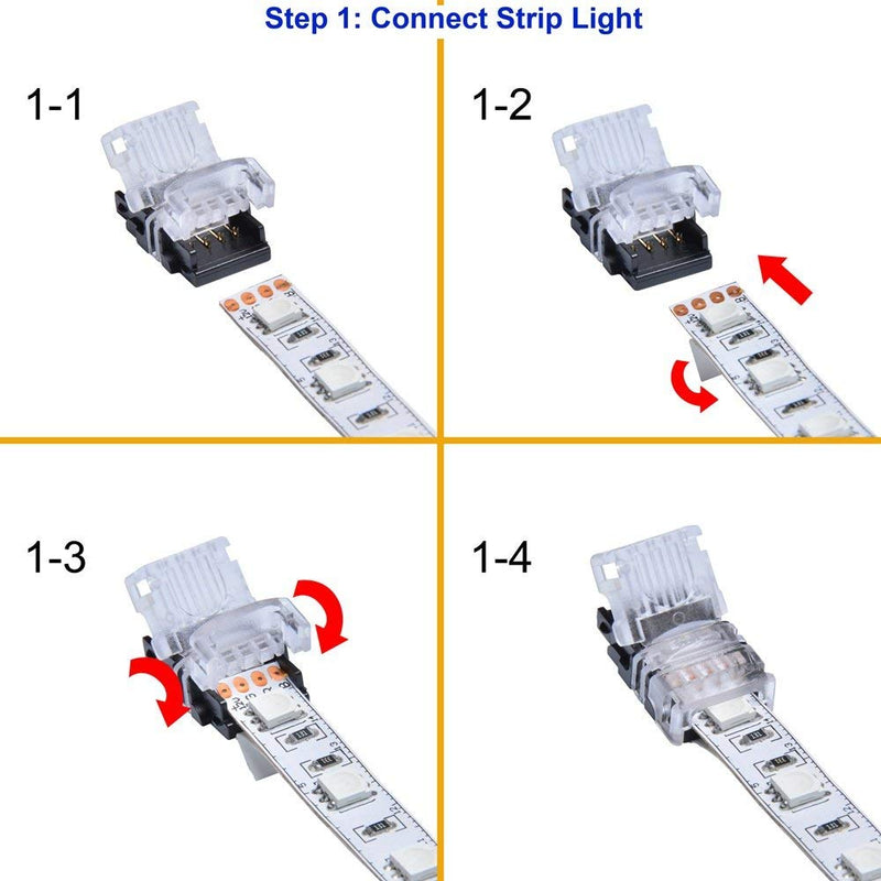 FluxTech -  3-Pin CCT Colour LED Strip to Wire Connector for 10mm Waterproof 5050 LED Strip Light