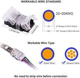 FluxTech - 4-Pin RGB LED Strip to Wire Connector for 10mm Watreproof 5050 LED Strip Light