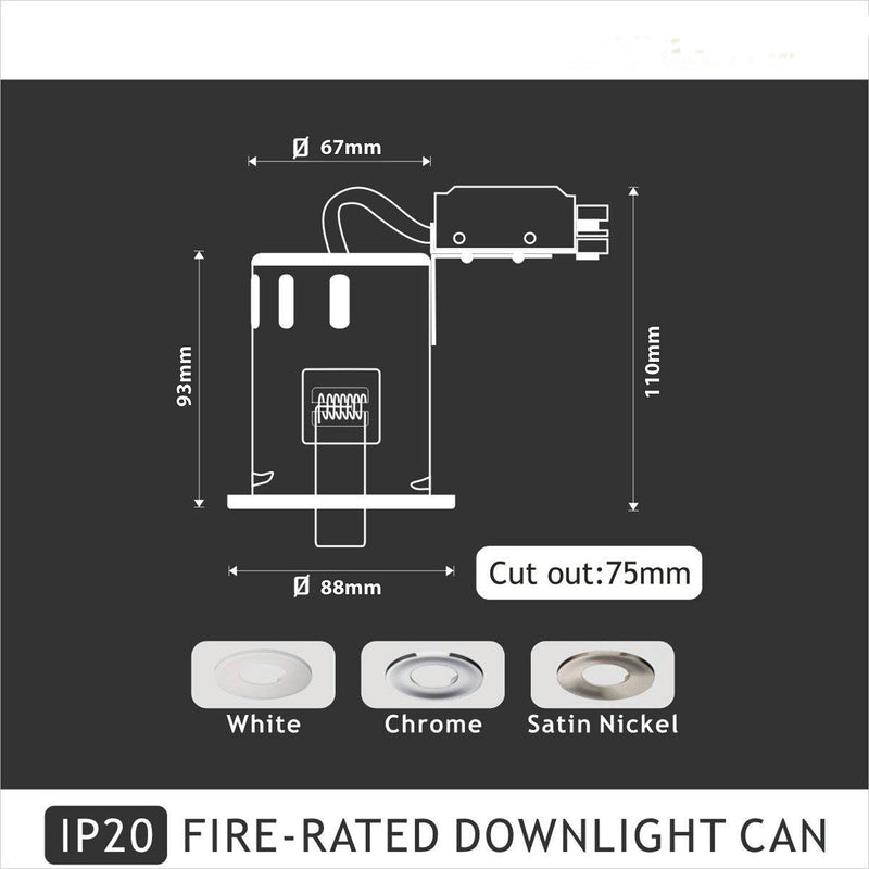 JustLED - IP20 Fire Rated GU10 Downlight Fitting for Recessed Mounting