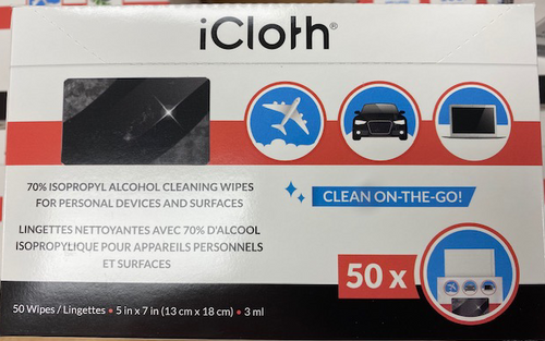 I cloth,  photo of front of Box of 50
