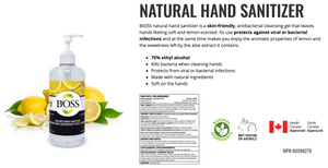 BiOSS Natural Hand Sanitizer Gel with Lemon - Health Canada Approved