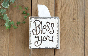 "Decor, wood & tin ""bless you"" tissue box"