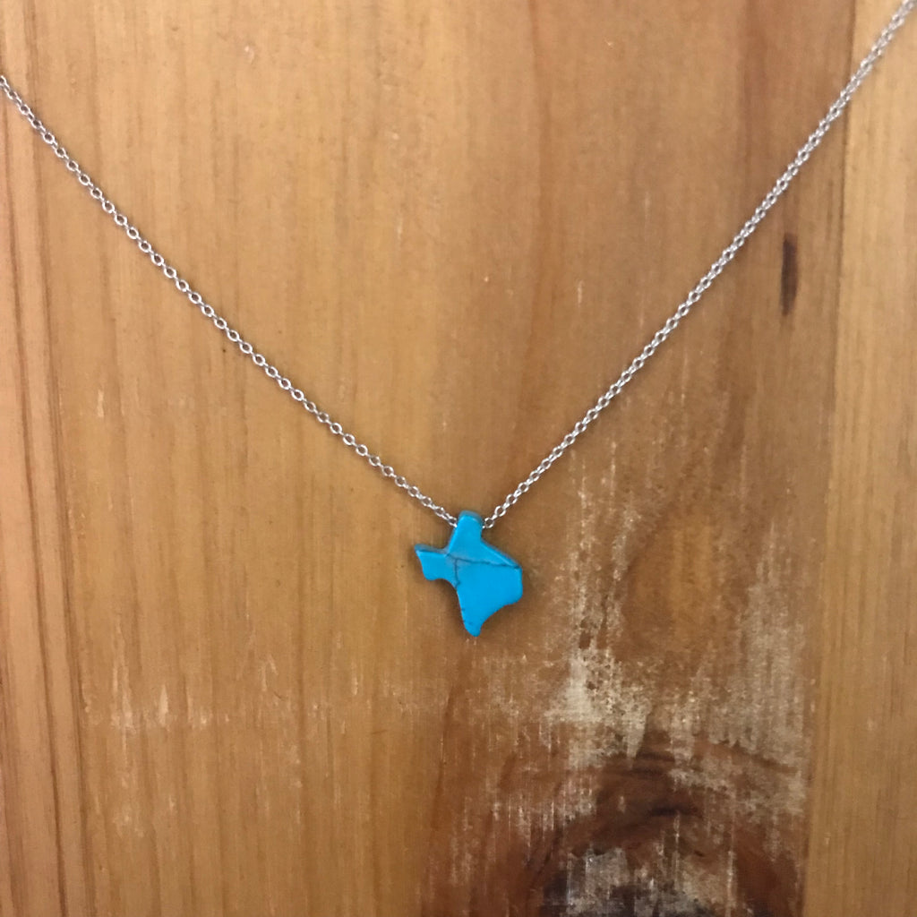 Jewelry, Texas shape turquoise charm on sterling silver chain