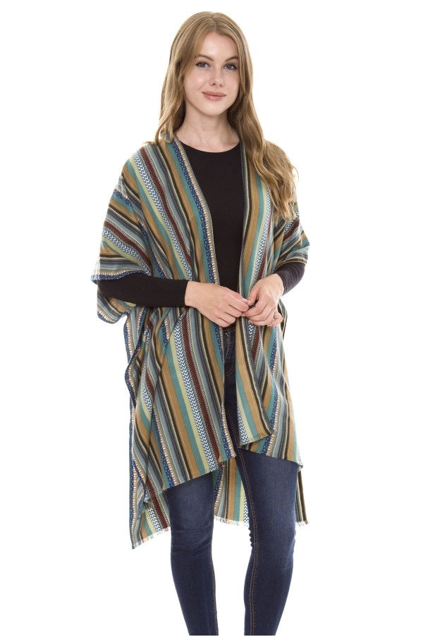 Apparel, Ruana, striped coverup