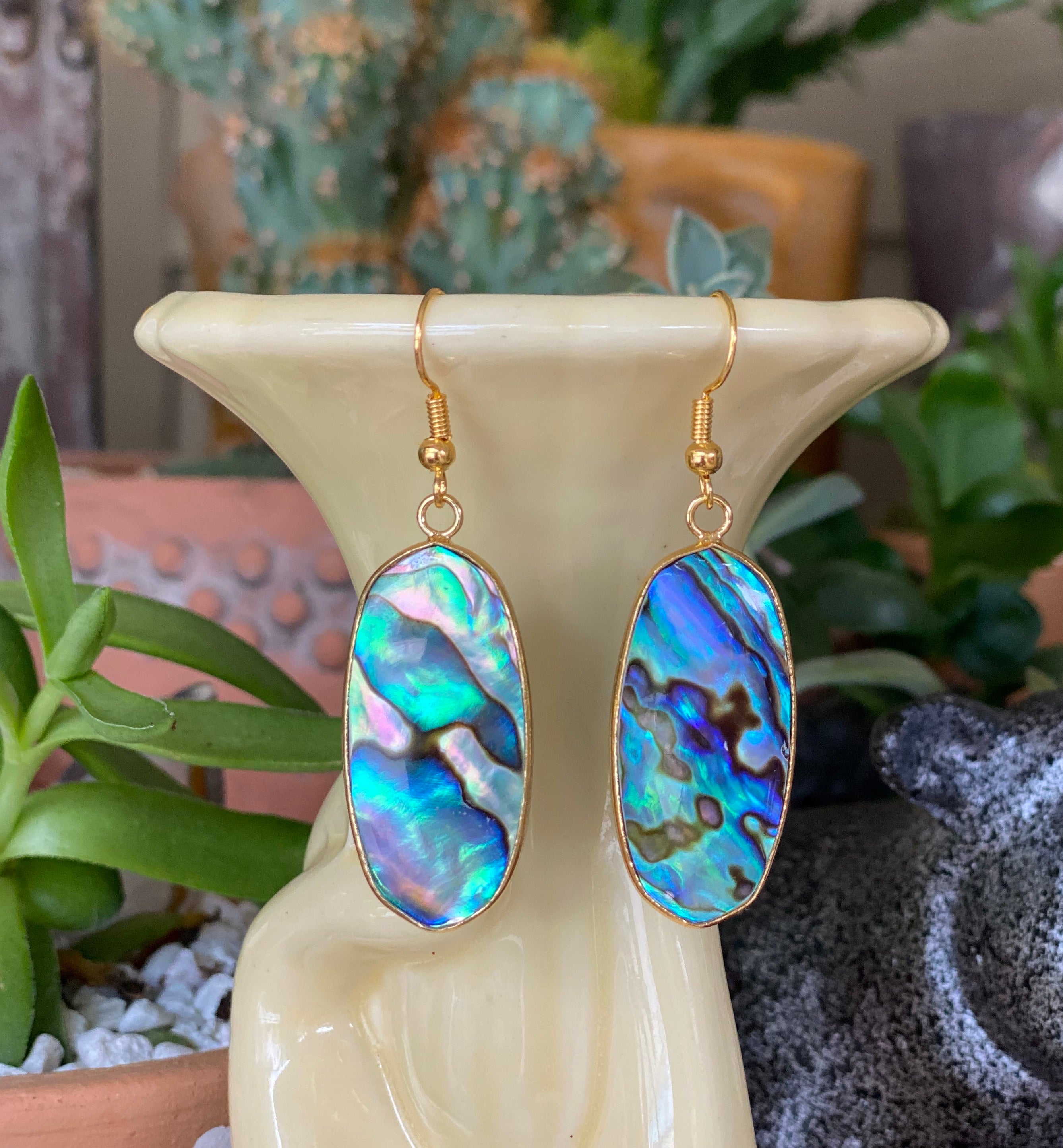 Jewelry, abalone earrings