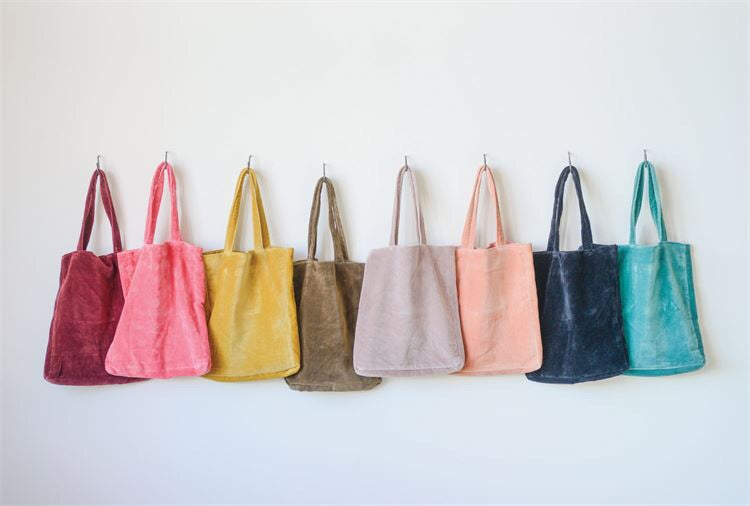 Accessories, cotton velvet tote bag with inside pocket.