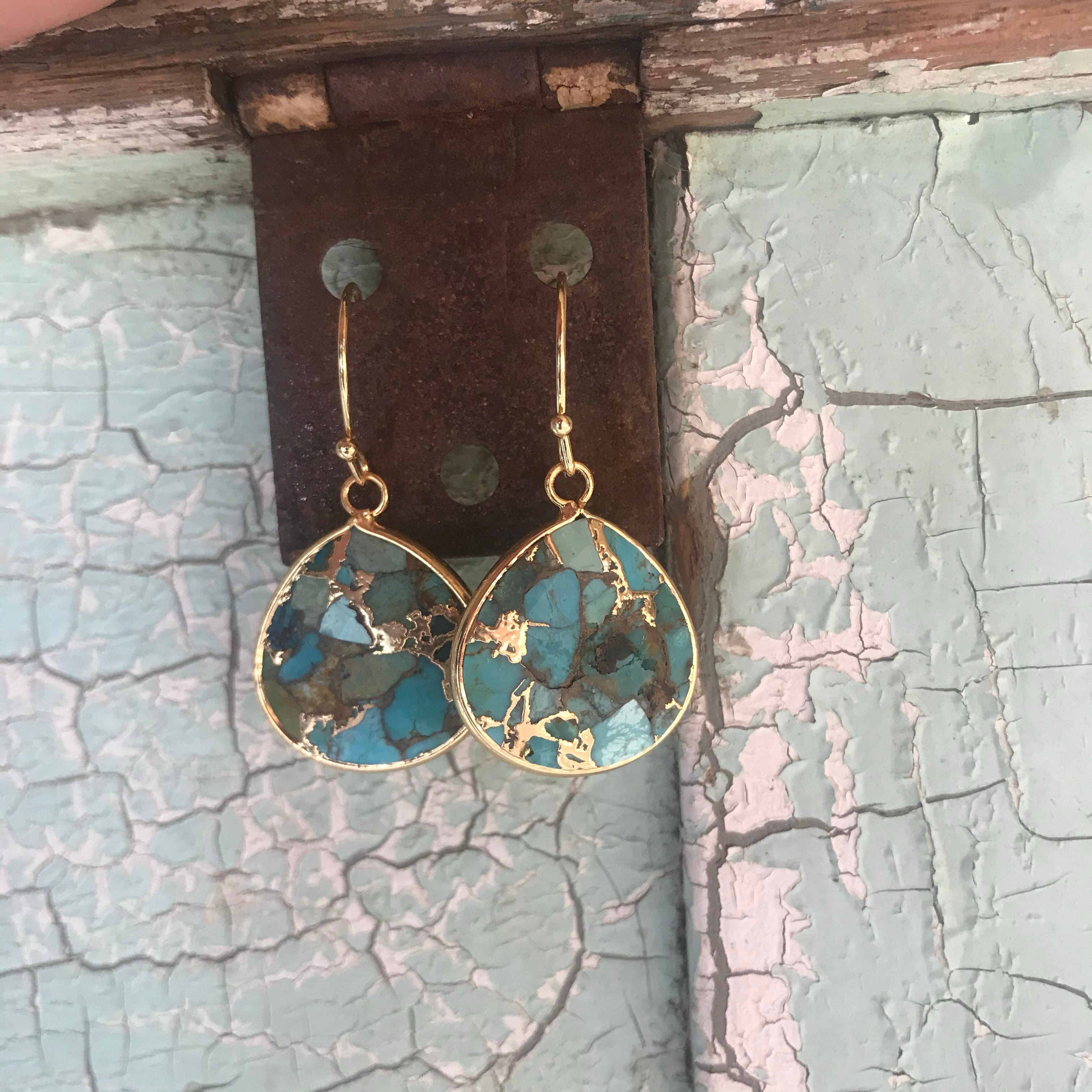 Jewelry, gold filled crushed turquoise earrings