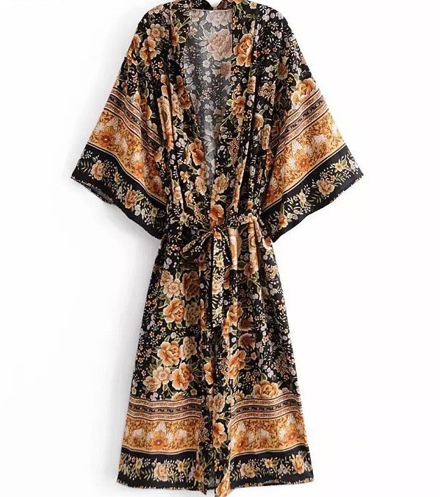 Apparel, kimono robe, cover up black