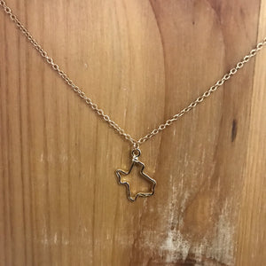 Texas shape charm necklace