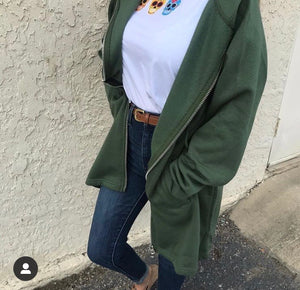 Apparel, green long sweatshirt jacket with hoodie