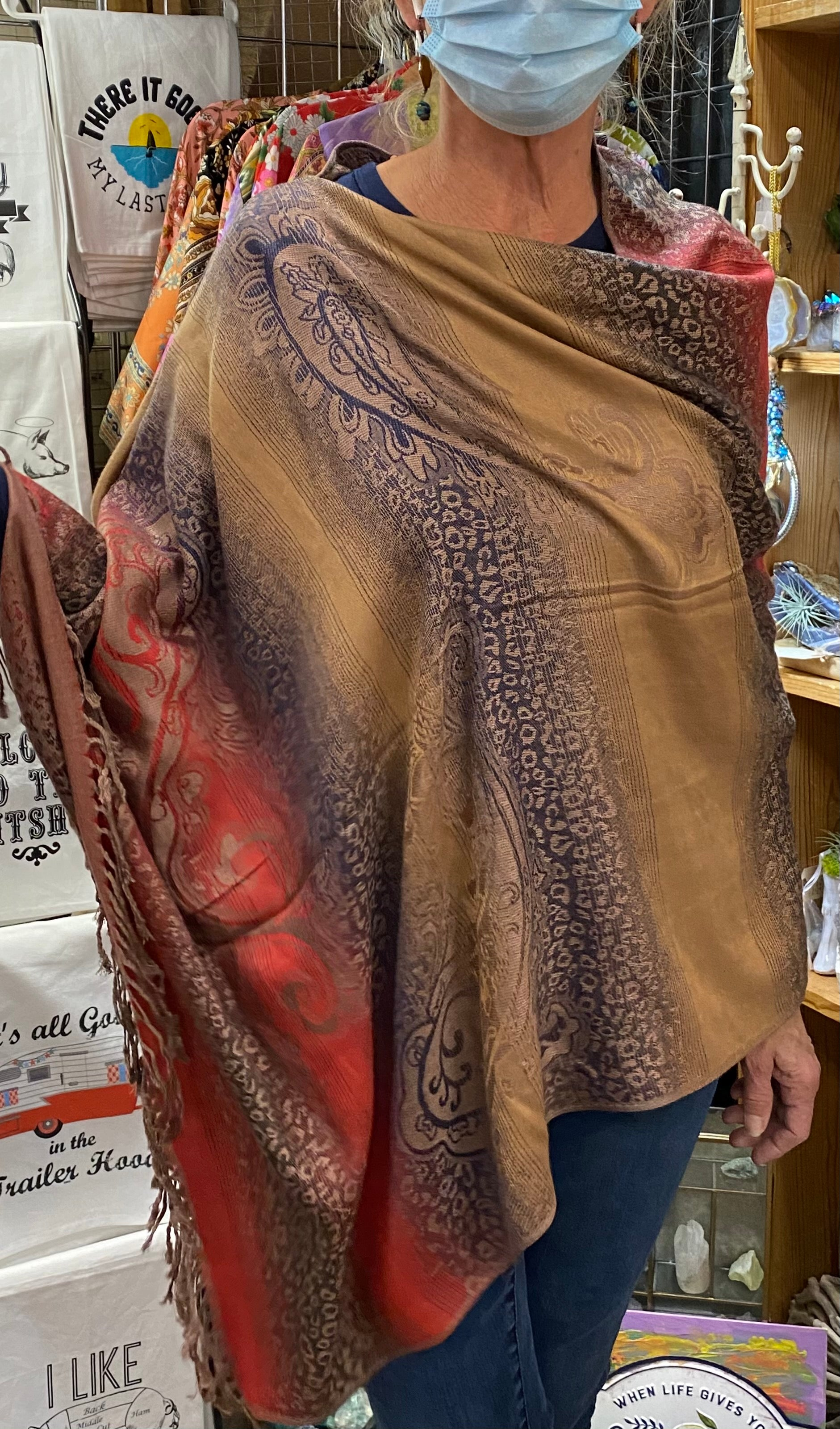 Apparel, pashmina poncho Indian blanket series