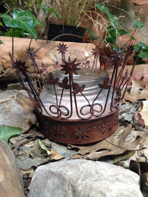 Candle,  tin votive/candle holder