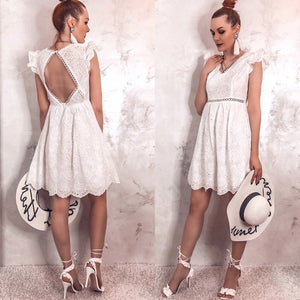 Sexy White Vintage Backless V-neck Ruffle Dress
