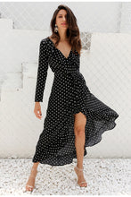 Load image into Gallery viewer, Polka Dot Ruffle Wrap Long Sleeve Dress