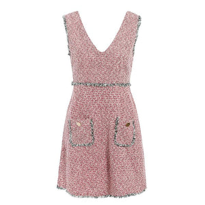 Tweed Sleeveless V-neck Tassel Pockets Vintage Dress