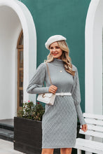 Load image into Gallery viewer, Long Cable Knitted Turtleneck Pullover Sweater Dress