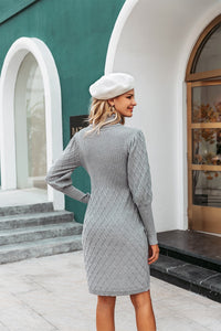 Long Cable Knitted Turtleneck Pullover Sweater Dress