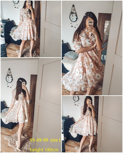 Floral Elegant High Waist Half Sleeve Vintage Dress