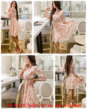 Load image into Gallery viewer, Floral Elegant High Waist Half Sleeve Vintage Dress