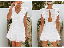 Load image into Gallery viewer, Elegant Cotton Embroidery Ruffled High Waist Dress