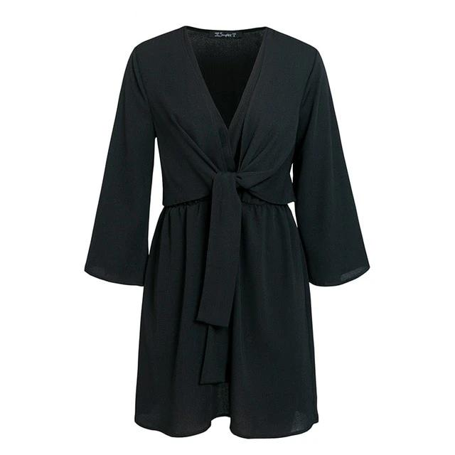 Long Sleeve Chiffon Black Bow Summer Dress