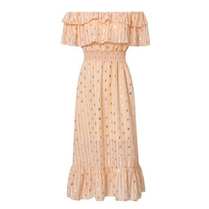Sexy Off Shoulder Elegant Dot White Vintage Dress