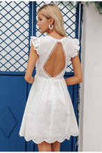 Load image into Gallery viewer, Sexy White Vintage Backless V-neck Ruffle Dress